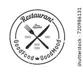 vintage restaurant logo   fork  ... | Shutterstock .eps vector #720986131