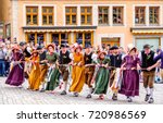 ROTHENBURG OB DER TAUBER, GERMANY - MAY 24: people at the typical annual medieval festival on may, 24 2015 in Rothenburg ob der Tauber - stock photo