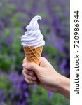 lavender soft cream on hand... | Shutterstock . vector #720986944