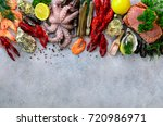 seafood background   fresh... | Shutterstock . vector #720986971