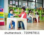 kids kindergartner in group of... | Shutterstock . vector #720987811