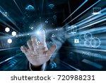 businessman touching global... | Shutterstock . vector #720988231