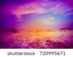 beautiful tropical sunset in... | Shutterstock . vector #720995671
