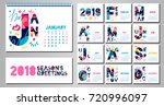 2018 wall monthly calendar... | Shutterstock .eps vector #720996097