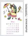 calendar 2018 with unicorn may...   Shutterstock .eps vector #720999091