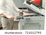 man copying paper from... | Shutterstock . vector #721012795