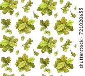 seamless pattern from oak tree... | Shutterstock .eps vector #721020655