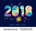 2018 happy new year greeting... | Shutterstock .eps vector #721022125