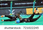 Small photo of KUALA LUMPUR, MALAYSIA, SEPTEMBER 23, 2017: Paralympic athletes compete in the Goalball event competition at the 9th Asean Para Games in Mitec, Kuala Lumpur, Malaysia.