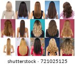 collage female hair  rear view | Shutterstock . vector #721025125