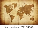 crumpled vintage world map | Shutterstock . vector #72103060