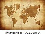 crumpled vintage world map | Shutterstock . vector #72103060