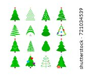 christmas tree vector icon set. ... | Shutterstock .eps vector #721034539
