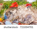 fresh seafood. fish  herbs and... | Shutterstock . vector #721034701