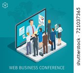 web conference banner. man on... | Shutterstock .eps vector #721037365