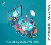 business conference online... | Shutterstock .eps vector #721037401