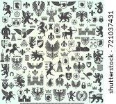 silhouettes of heraldic design... | Shutterstock .eps vector #721037431