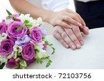 hands of bride and groom with... | Shutterstock . vector #72103756
