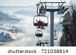 young couple snowboarders... | Shutterstock . vector #721038814