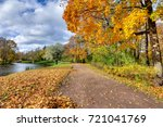 Small photo of Golden autumn (fall) in Alexander park, Tsarskoe Selo (Pushkin) Saint Petersburg, Russia