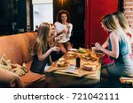 group of young girlfriends...   Shutterstock . vector #721042111