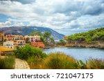 assos village in kefalonia ... | Shutterstock . vector #721047175