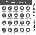 set of cryptocurrency icon .... | Shutterstock .eps vector #721052764