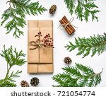 vintage gift boxes in craft... | Shutterstock . vector #721054774