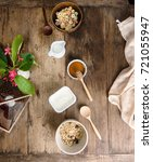 top view flat lay breakfast for ... | Shutterstock . vector #721055947