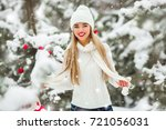 beautiful woman with christmas... | Shutterstock . vector #721056031