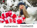 beautiful woman with christmas... | Shutterstock . vector #721056055