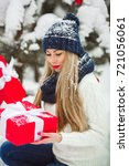 beautiful woman with christmas... | Shutterstock . vector #721056061