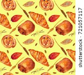 bakery products watercolor... | Shutterstock . vector #721057117