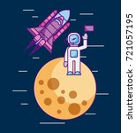 astronaut with flag on another... | Shutterstock .eps vector #721057195