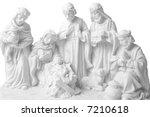 Small photo of Nativity scene whit jesus, Joseph, Virgin Mary, three oriental kings bringing presents and a sheep