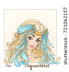 aquarius zodiac sign. a young... | Shutterstock . vector #721062157
