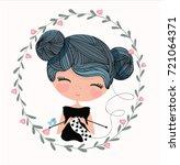 knitting girl.love cards... | Shutterstock .eps vector #721064371