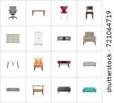 realistic chair  sofa  worktop... | Shutterstock .eps vector #721064719