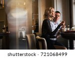 happy loving couple enjoying... | Shutterstock . vector #721068499