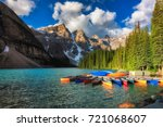 Canoes On Moraine Lake At...