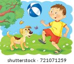 four seasons. a cute boy and... | Shutterstock . vector #721071259