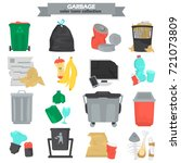 garbage color flat icons set | Shutterstock .eps vector #721073809