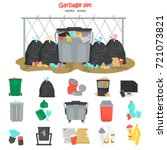 garbage color flat icons set.... | Shutterstock .eps vector #721073821
