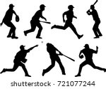 baseball silhouettes collection ...   Shutterstock .eps vector #721077244