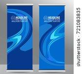 blue roll up business brochure...   Shutterstock .eps vector #721083835