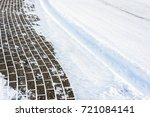 background with snow on road... | Shutterstock . vector #721084141