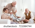 group of senior friends... | Shutterstock . vector #721084744
