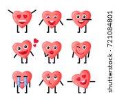 a set of cartoon heart badges....   Shutterstock .eps vector #721084801