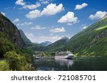 cruise liner in the fjord.... | Shutterstock . vector #721085701