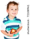 smiling boy holding a toy house isolated on white - stock photo
